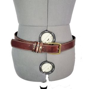 Brown Leather Western Belt Bronzed Buckle Embroide